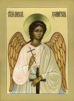 Икона Ангел Хранитель (доска без ковчега, левкас, яичная темпера, паволока, позолота сусальным золотом нимба и фрагментов изображения)