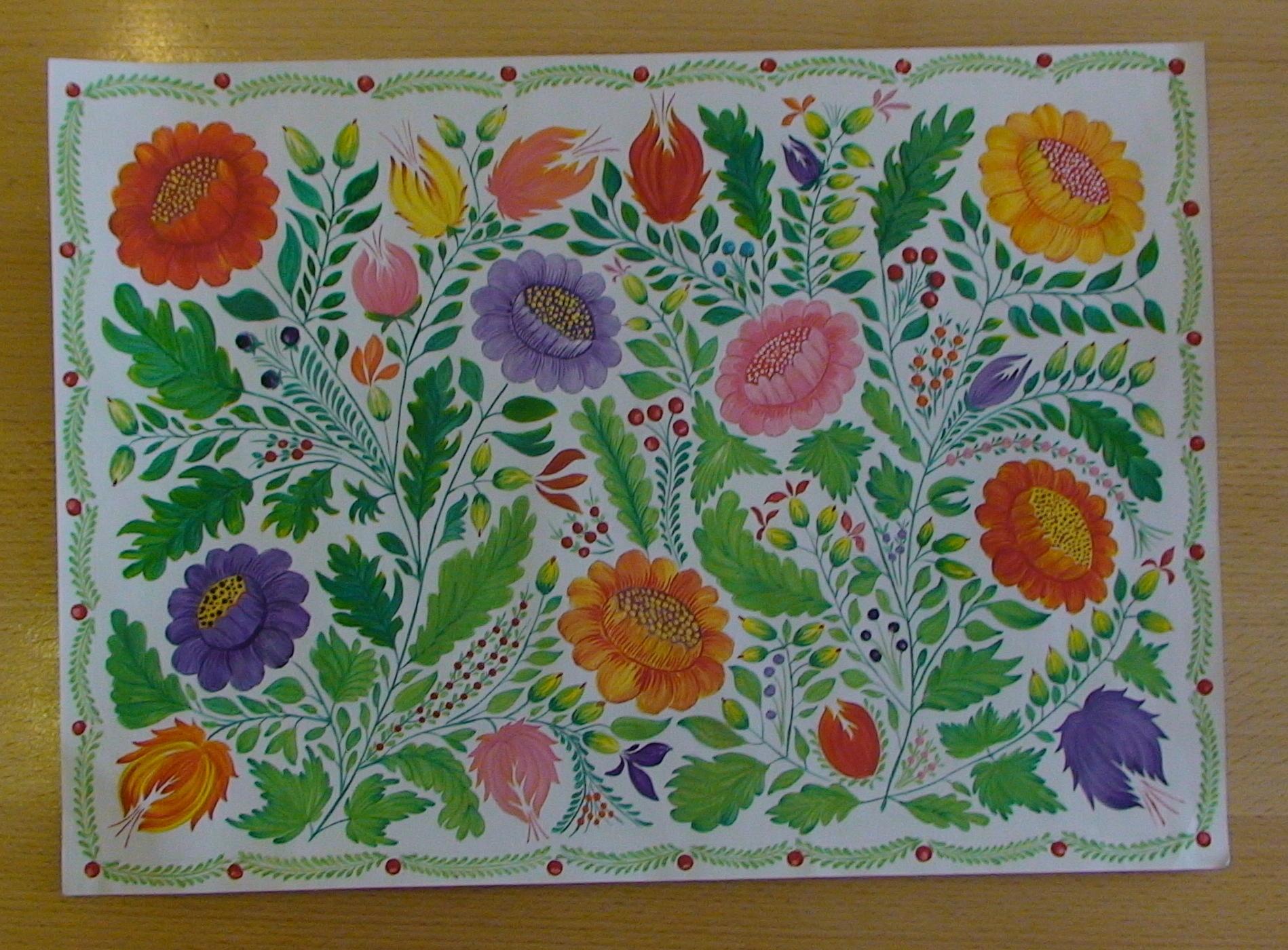 Петриковская роспись по ткани акриловыми красками (батик)